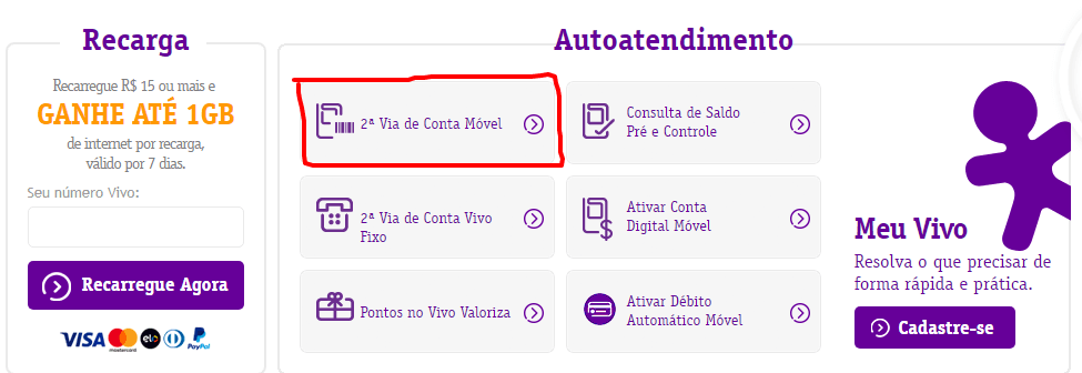 Fatura Vivo 2018 - imprimir 2ª Via Conta atualizada